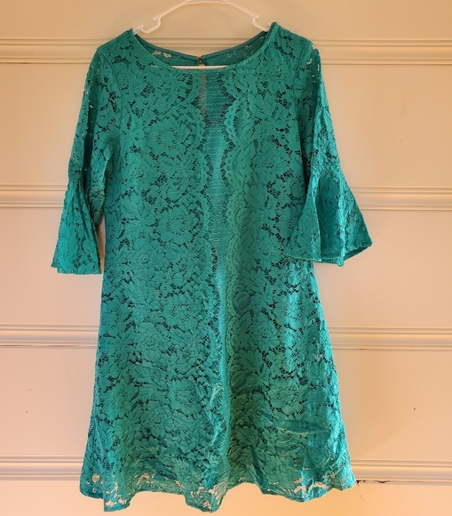 Julian Taylor Dresses & Skirts - Turquoise Lace Dress with Bell Sleeves